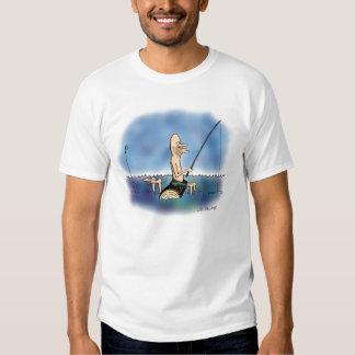 Desenhos animados estranhos da pesca do dia t-shirt