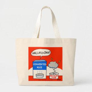 Desenhos animados evangélicos bonitos do arroz bolsa tote grande