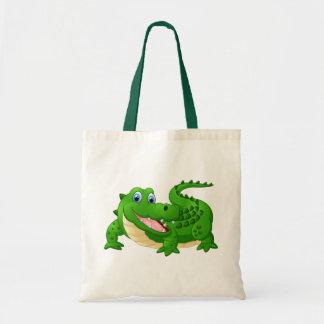 Desenhos animados felizes do crocodilo bolsa tote