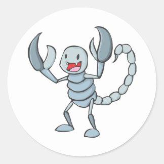 Desenhos animados felizes do inseto do escorpião adesivos em formato redondos