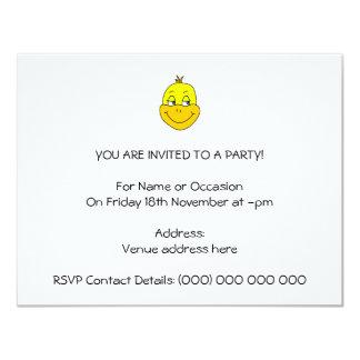 Desenhos animados felizes do pato convite 10.79 x 13.97cm