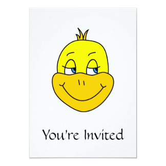 Desenhos animados felizes do pato convite 12.7 x 17.78cm