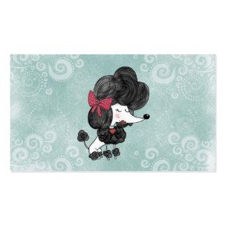 Desenhos animados femininos da caniche francesa cartão de visita