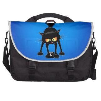 Desenhos animados ferozes engraçados do gato preto maletas para notebooks