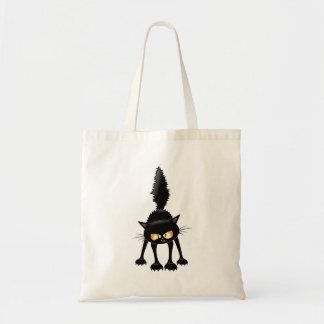 Desenhos animados ferozes engraçados do gato preto sacola tote budget
