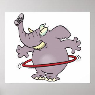 desenhos animados hooping do hula parvo do elefant impressão