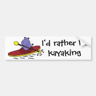 Desenhos animados Kayaking do hipopótamo engraçado Adesivo Para Carro