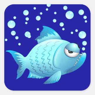 Desenhos animados mal-humorados dos peixes adesivo quadrado