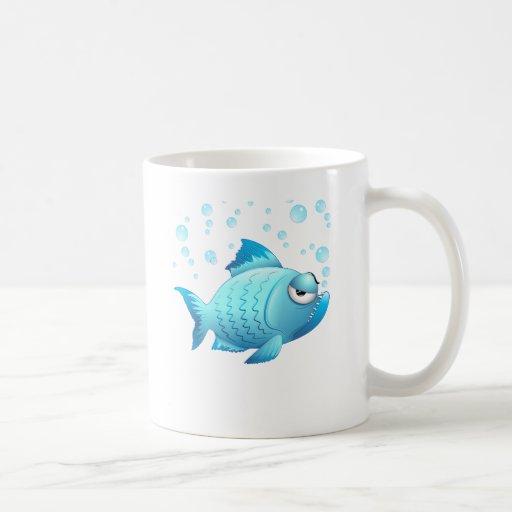 Desenhos animados mal-humorados dos peixes caneca