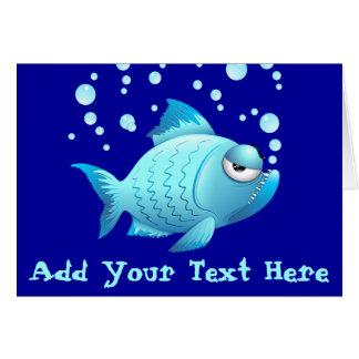 Desenhos animados mal-humorados dos peixes cartao