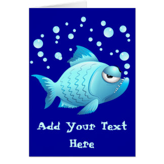 Desenhos animados mal-humorados dos peixes cartão comemorativo