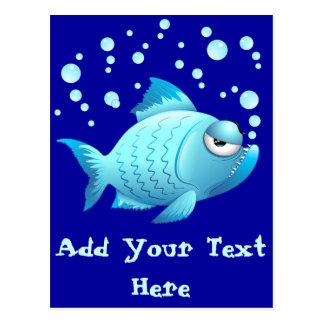 Desenhos animados mal-humorados dos peixes cartao postal