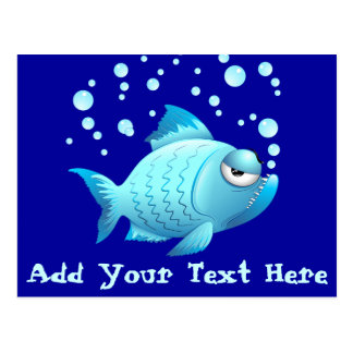Desenhos animados mal-humorados dos peixes cartoes postais