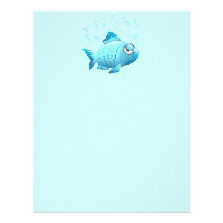 Desenhos animados mal-humorados dos peixes papel de carta