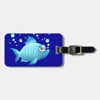Desenhos animados mal-humorados dos peixes etiquetas de malas de viagem