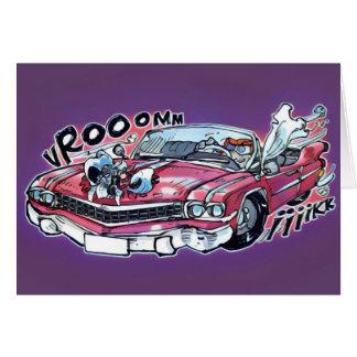 desenhos animados nupciais cor-de-rosa do carro de cartão comemorativo