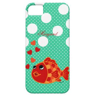 Desenhos animados personalizados do peixe dourado capas para iPhone 5