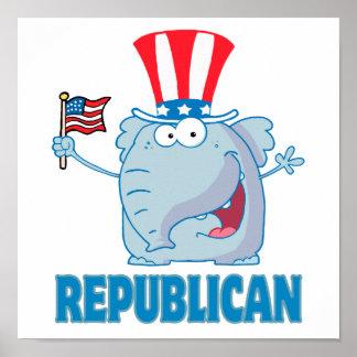 desenhos animados políticos do elefante republican impressão