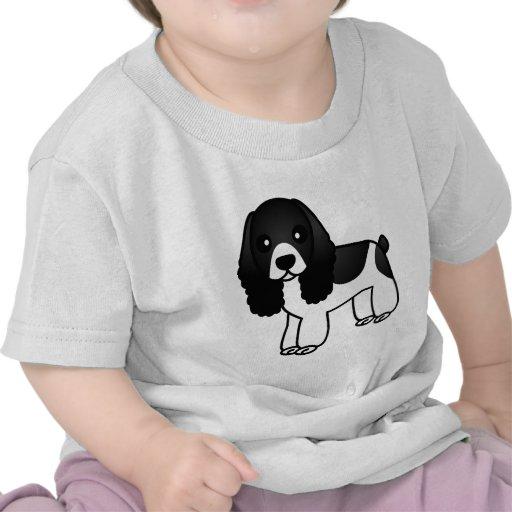 Desenhos animados preto e branco bonitos de cocker t-shirts