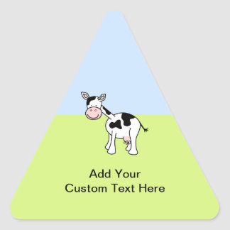 Desenhos animados preto e branco da vaca adesivos em forma de triângulo