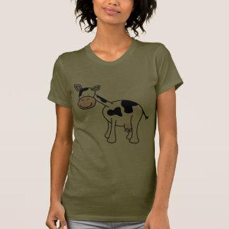 Desenhos animados preto e branco da vaca camiseta