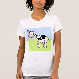 Desenhos animados preto e branco da vaca camisetas