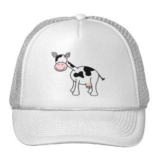 Desenhos animados preto e branco da vaca boné