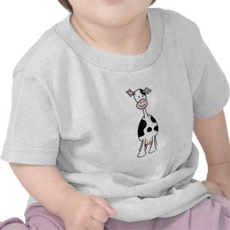 Desenhos animados preto e branco da vaca. Parte Camisetas