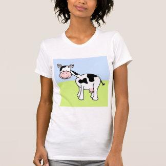 Desenhos animados preto e branco da vaca t-shirt