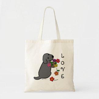 Desenhos animados pretos da cesta da flor do filho bolsa de lona
