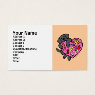 Desenhos animados pretos do coração de Labrador & Cartão De Visitas