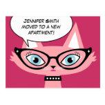 """Desenhos animados retros do gato """"eu movi"""" o cartã cartão postal"""