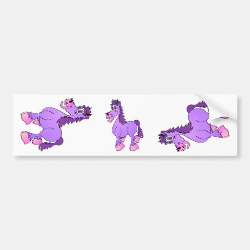 Desenhos animados roxos do cavalo adesivo