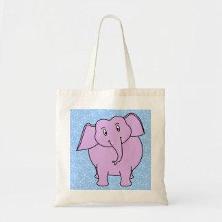 Desenhos animados roxos do elefante. Fundo floral  Bolsas