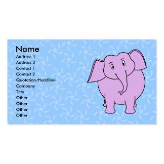 Desenhos animados roxos do elefante. Fundo floral Cartão De Visita