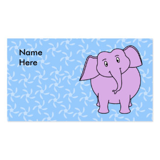 Desenhos animados roxos do elefante. Fundo floral  Cartoes De Visita