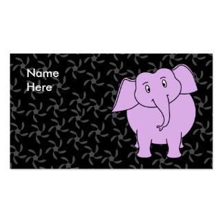 Desenhos animados roxos do elefante. Fundo floral  Cartões De Visitas