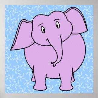 Desenhos animados roxos do elefante. Fundo floral  Pôsteres