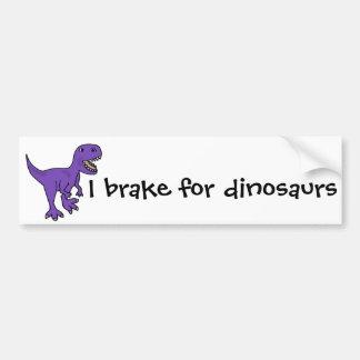 Desenhos animados roxos engraçados do dinossauro adesivo para carro
