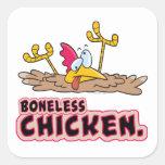 desenhos animados sem ossos engraçados da galinha adesivo quadrado