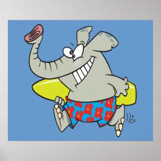 desenhos animados surfando do elefante do surfista impressão