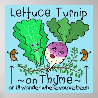 Desenhos animados vegetais da chalaça do tomilho pôster