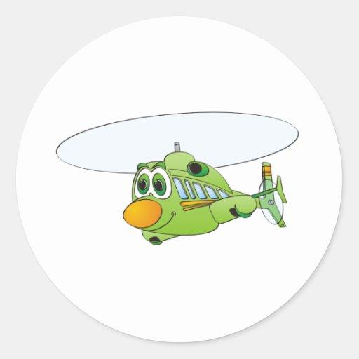 Desenhos animados verdes do helicóptero adesivos redondos