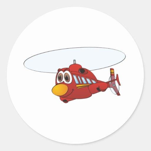 Desenhos animados vermelhos do helicóptero adesivo redondo