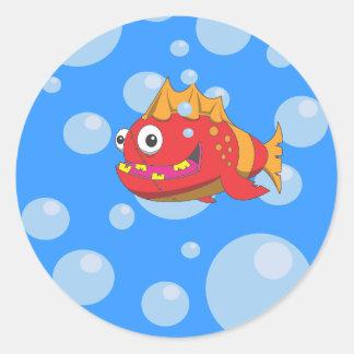Desenhos animados vermelhos dos peixes adesivo