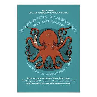 Desenhos animados vermelhos ferozes dos tentáculos convite 12.7 x 17.78cm