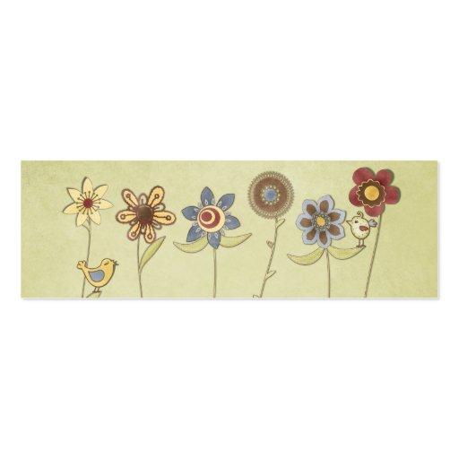 desenhos da flor e do pássaro bonitos cartões de visitas