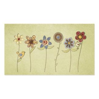 desenhos da flor e do pássaro bonitos cartão de visita