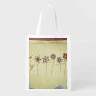 desenhos da flor e do pássaro bonitos sacolas reusáveis