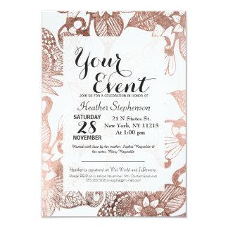 Desenhos florais rústicos do ouro cor-de-rosa do convite 8.89 x 12.7cm